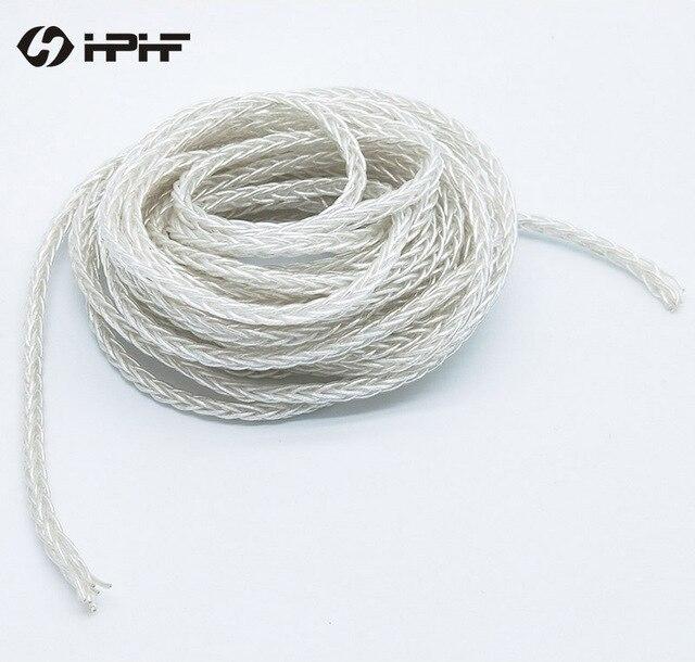 HPHF 152 núcleos 7N OCC HIFI auriculares Cables plateados de plata de un solo cobre y cristal audio estéreo DIY auriculares Cables 8 acciones 5M