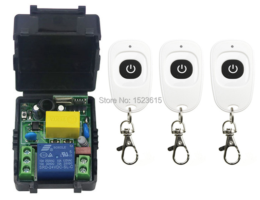 latest AC220V 1CH Wireless Remote Control Switch System Receiver &3pcs one-button waterproof Remote 315mhz/433mhz wireless pager system 433 92mhz wireless restaurant table buzzer with monitor and watch receiver 3 display 42 call button