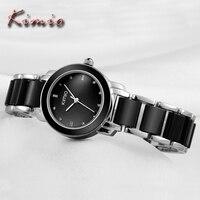 KIMIO Brand Ladies Ceramic Bracelet Watches Elegant Black Clock Women Dress Luxury Fashion Quartz Wrist Watch