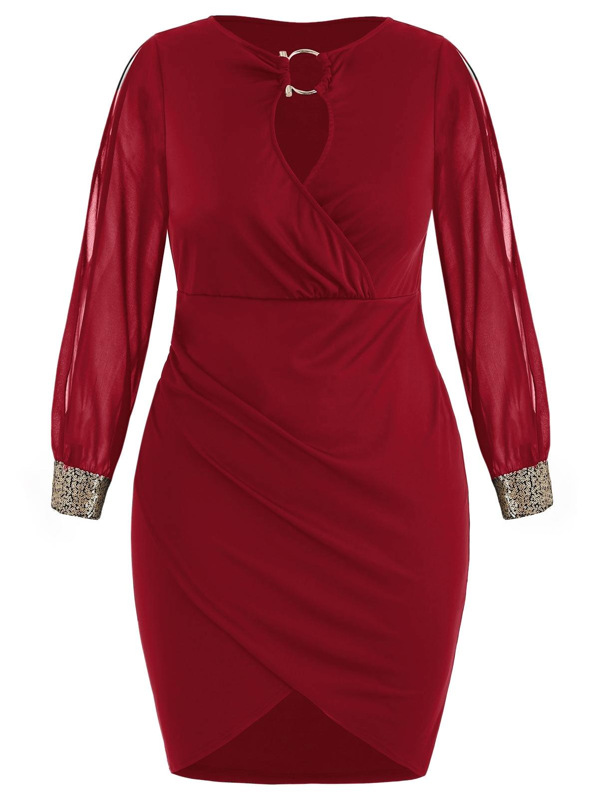 c0573d1e189 Detail Feedback Questions about Wipalo Plus Size Dress Women Keyhole ...