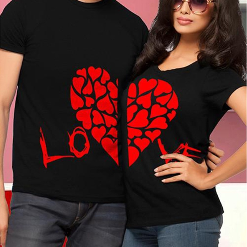 2019 Couples Leisure   T  -  shirt   Short Sleeve Tees Cute Tops New Hot Valentine   Shirts   Woman Cotton LOVE Funny Letter Print