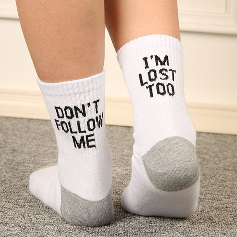 Don't Follow Me Letter Printed Csaual Socks I Am Lost Too