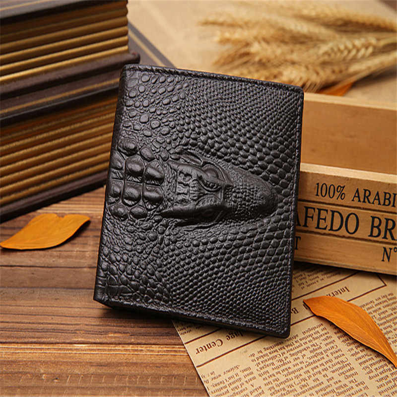 b2fa8d4daa6 Fashion Brand Men Wallets Genuine Leather Crocodile Pattern Men Purse  Bifold Design Wallet Alligator Money Bag
