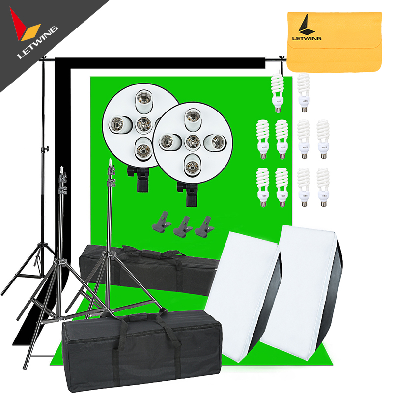 2250W Photo Studio Continuous Lights Softbox 3X Backgrounds Backdrop & Stand Kit  portable photo studio 4 photographic backgrounds 1 camera stand 2 halogen lights w carrying bag