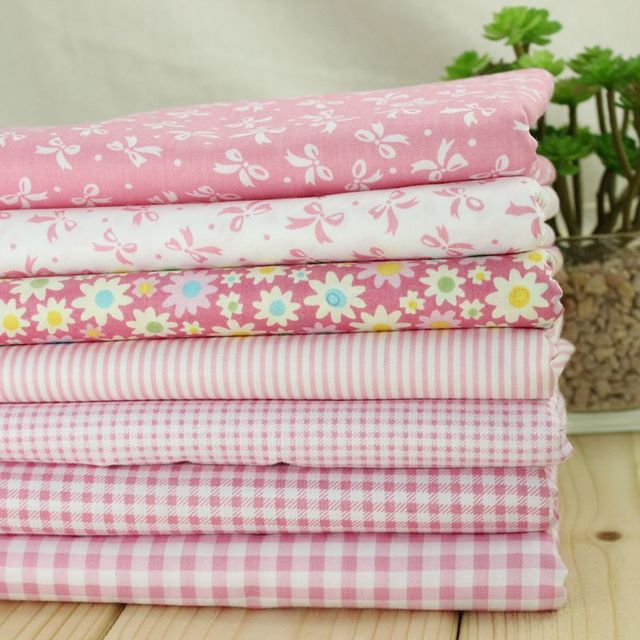 Pink Cotton Fabric For Sewing Flowers Clothing Fabric 160cm Width Plaid  Tablecloth Bow Material Curtain Cloth
