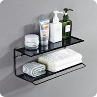 A1 Punch free bathroom wash rack wrought iron double racks bathroom wall hanging cosmetics storage rack towel rack LO523458