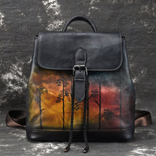 High Quality Women Backpacks Vintage Unisex Genuine Leather Backpack Multi-functional Female School Bags Men Travel Bags multi functional genuine leather male messenger women backpack female schoolbag back pack backpacks men backpacks