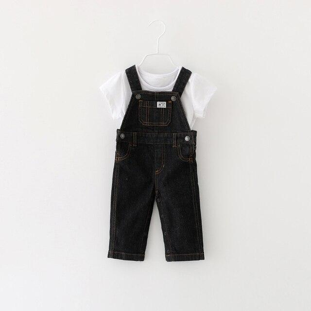 Новый 2016 осенняя мода досуг Брюки для мальчиков Девочек нагрудник брюки Newbron Джинсовые Комбинезоны детские мультики детские джинсы 3-24 М