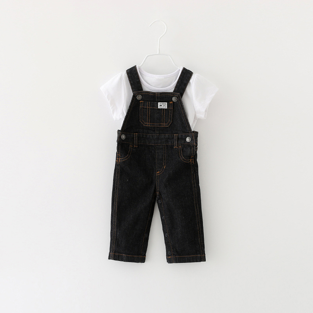 New 2016 autumn fashion leisure Pants for Baby boys Girls bib pants Newbron Denim Overalls kids cartoon infant jeans 3-24M
