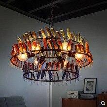 Retro creative industrial style restaurant E27 bulb pendant lamp American three layers color feather iron lighting lamp