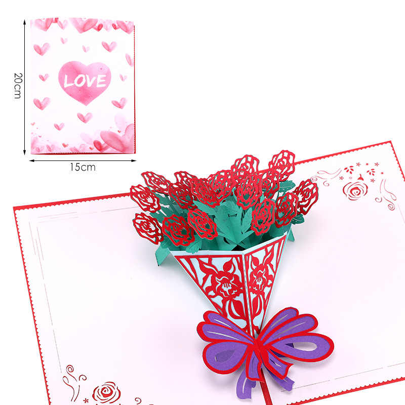 Handmade 3d Pop Up Rose Lilies Sunflowers Daffodils Flowers Greeting Card Christmas Birthday New Year Invitation