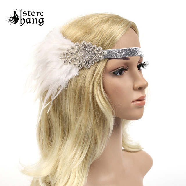 Gatsby 1920s Headpiece Stunning Roaring 20s Ostrich Feather Flapper Headband The Great Gatsby Fancy Dress Hair Accessories