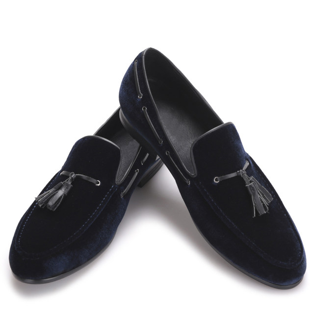 Navy Blue Leather Tassel Men Shoes Menu0027s Party Wedding Shoes Men Velvet  Loafers Scarpe Uomo Eleganti Men