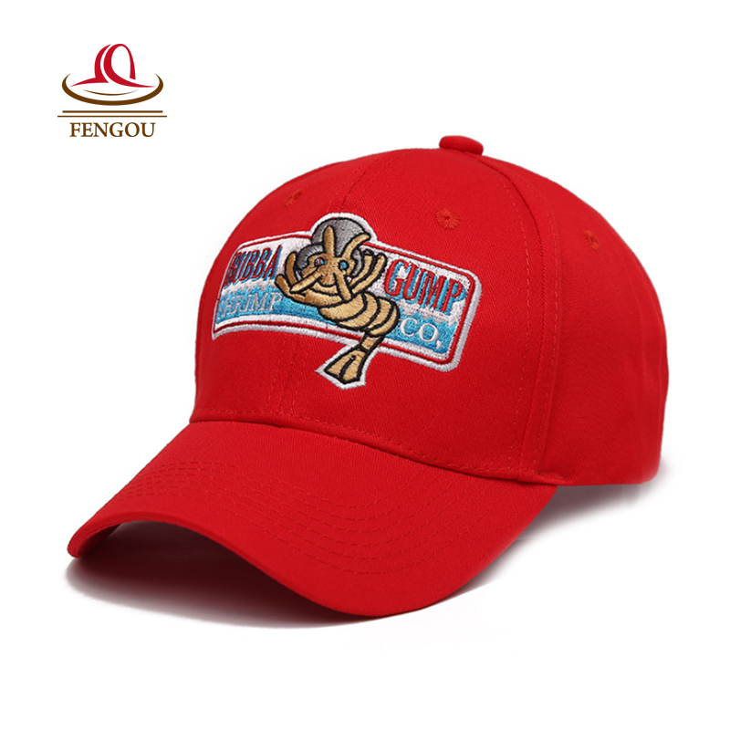 Forrest Gump Recover Cosplay Running Baseball Snapback Caps Women Men BUBBA GUMP Sport Outdoor Cotton Red Hat