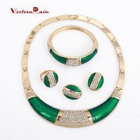 WesternRain Shining Green Cheap Promotion Gold Austrian Crystal Light Big Drop Earrings Jewelry For Women Wholesale A129G