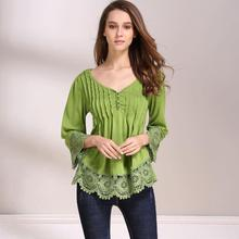 ФОТО women's casual lace splice flare sleeve flowy loose peplum boho peasant blouse t-shirt tops