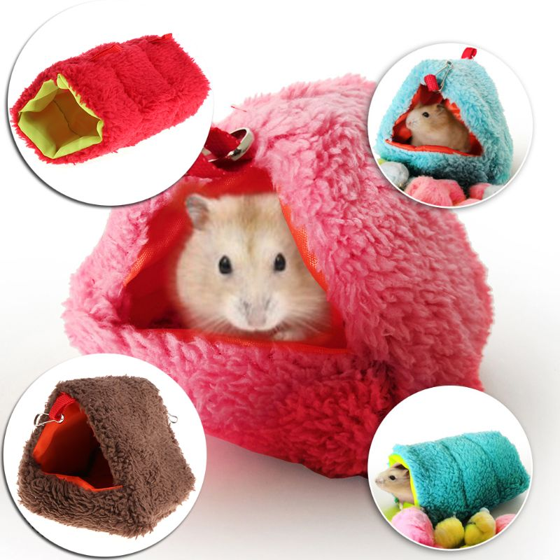 Hamster Nest Sleeping Bed Hanging Cage Fleece Waterproof Warm Winter Hammock Swing Toys Multi-functional For Small Pets Squirrel