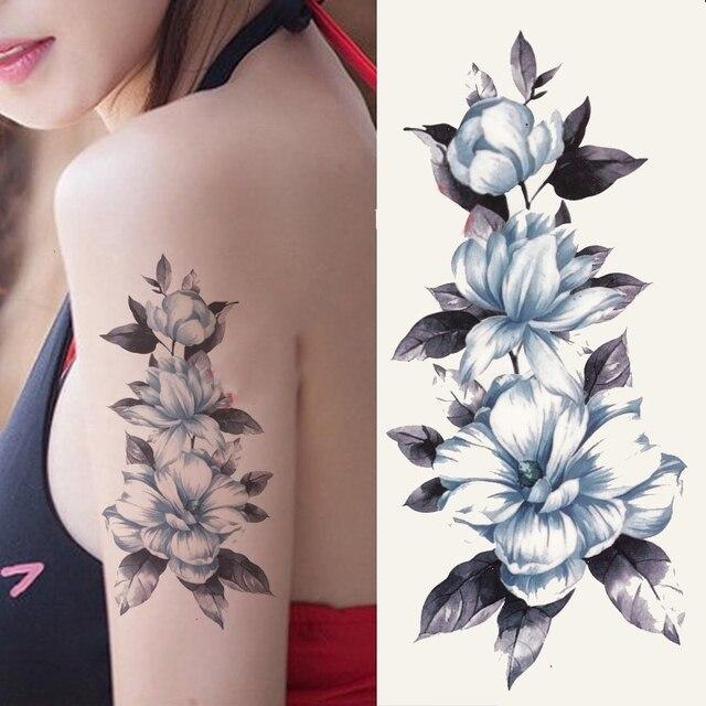 Tatuaje Temporal A Prueba De Agua Pegatina Flores En El Brazo Henna - Tatuajes-flores-brazo