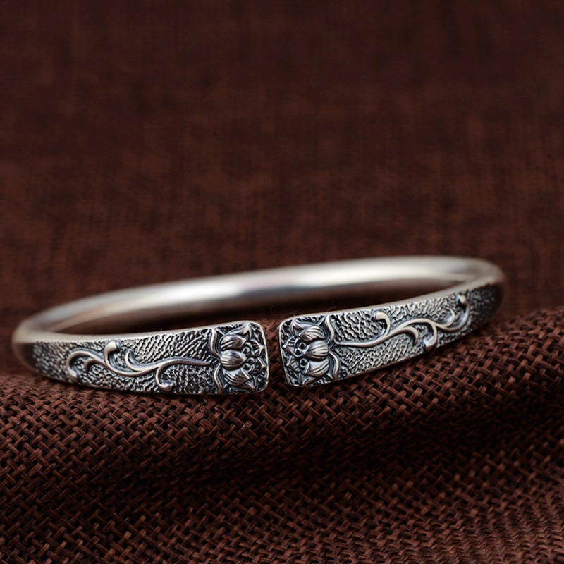 Real Pure 990 Sterling Silver Bangles For Women Unique Design Lotus Carving Opening Adjustable Bracelet BanglesReal Pure 990 Sterling Silver Bangles For Women Unique Design Lotus Carving Opening Adjustable Bracelet Bangles
