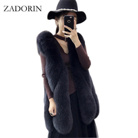 ZADORIN New Colored Long Faux Fur Vest Fluffy Jacket 2017 Plus Size Women Slim Fake Fur