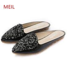 Size 43 Crystal Flat Slippers Women Pointed Toe Bling Rhinestone Mules Shoes Women European Brand Design Slides Ladies Slippers недорого