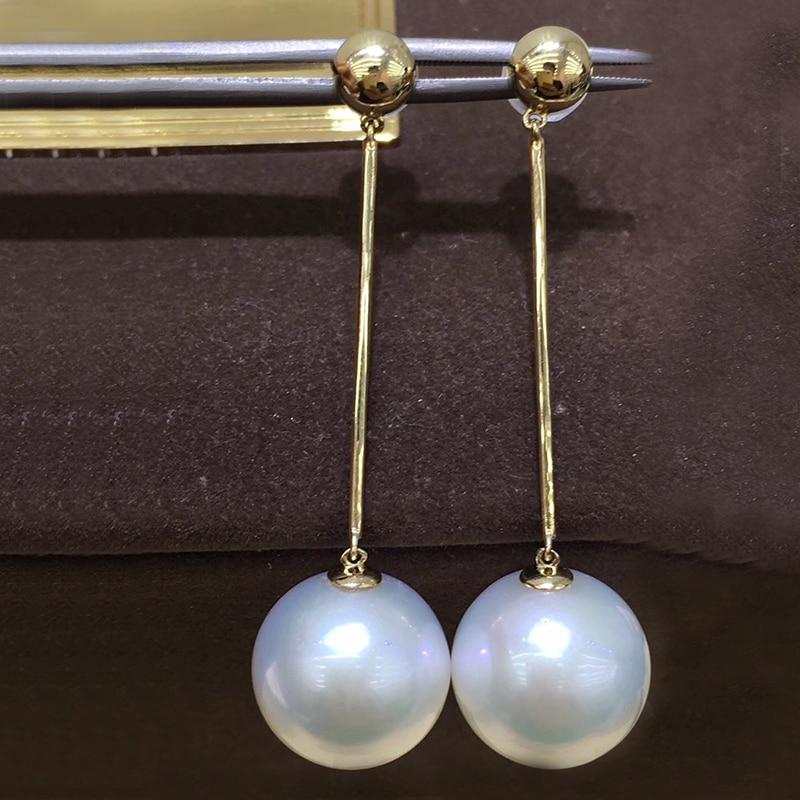 цена Sinya Very High luster 13-14mm Edison pearls Drop long chain earring in 14k gold for women Mum girls lover festival gift best онлайн в 2017 году