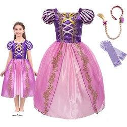 Платье принцессы Рапунцель для девочек; Летние вечерние маскарадные костюмы для маленьких детей; Запутанные платья для ролевых игр для дев...