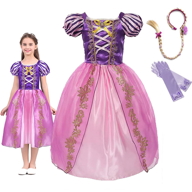 Girls Princess Rapunzel Dress Up Dresses Baby Summer Cosplay Party Costumes Little Child Tangled Role Playing Frocks For Girl