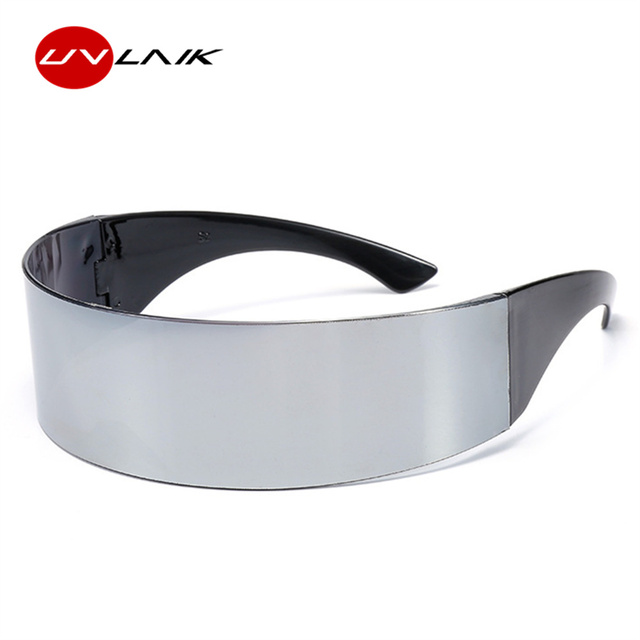 UVLAIK футуристические солнцезащитные очки Для мужчин Для женщин фестиваль смешно солнцезащитных очков футуристический Обёрточная бумага вокруг моноб костюм маска для вечеринки Новинка очки