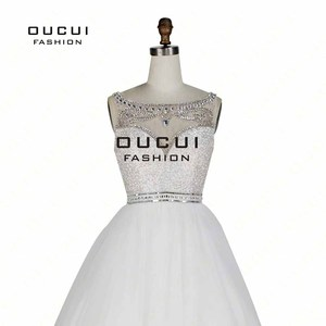 Image 5 - שרוולים לבן שמלות נשף 2019 ערב כדור שמלת מסיבת חתונת טול אשליה ואגלי פורמליות Vestido דה noiva OL102830C