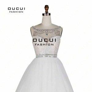 Image 5 - Bez rękawów białe suknie balowe 2019 wieczorowa suknia balowa wesele tiul Illusion frezowanie formalne Vestido de noiva OL102830C