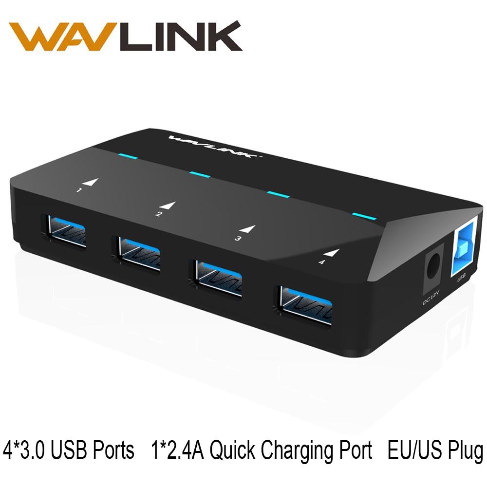 Wavlink 4-porte EU / US USB-hub med strømadapter USB 3.0-hub med 1 opladningsholde op til 2.4A USB-hub Microsoft Windows MAC 10.1