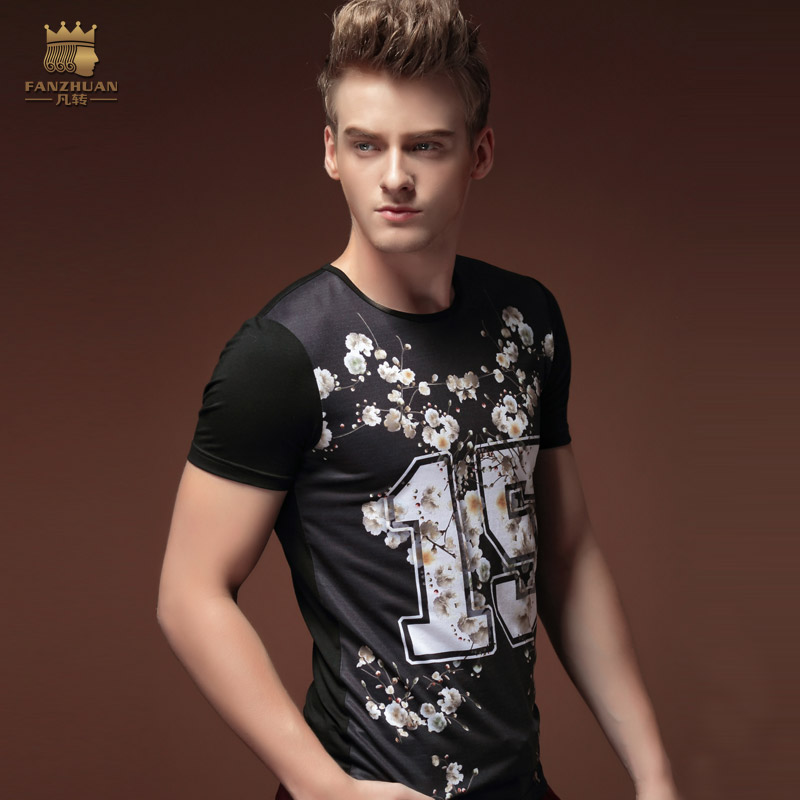 Free Shipping Korean Summer men's fashion casual short sleeved 2015 youth casual Black Slim T-shirt 15585 male flowers OnSale