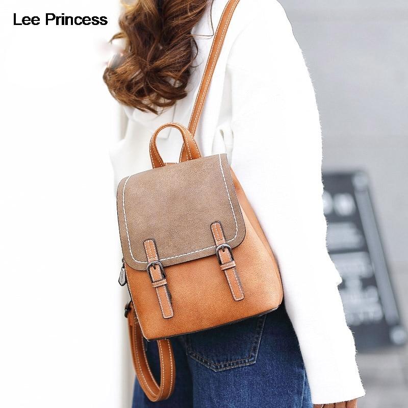 LEE PRINCESS Backpack Women Free Bear Gift High Quality Scrub PU Leather Schoolbag Big Small Student