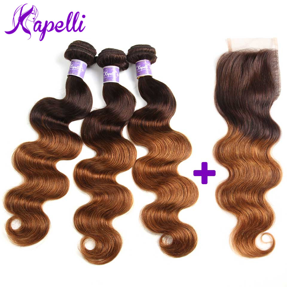 Kapelli Hair Ombre Brazilian Hair Body Wave Ombre Bundles With Closure 3 Ombre Human Hair Bundles With Closure Non Remy T4/30