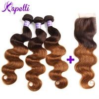 Kapelli Hair Ombre Brazilian Hair Body Wave Ombre Bundles With Closure 3 Ombre Human Hair Bundles