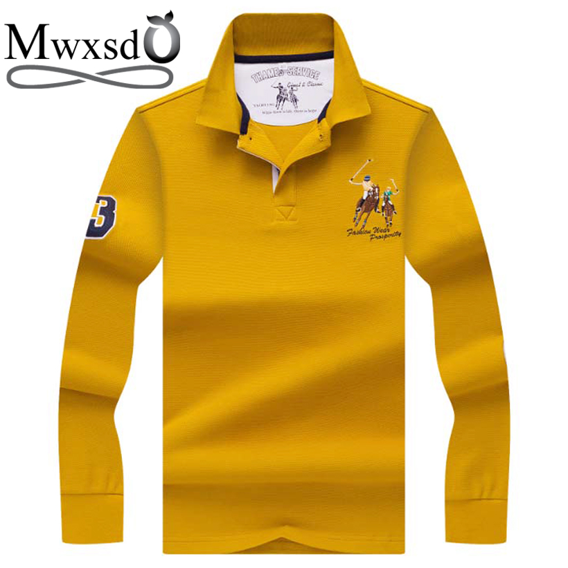 Mwxsd brand high quality men 39 s solid cotton polo shirts for Soft cotton long sleeve shirts