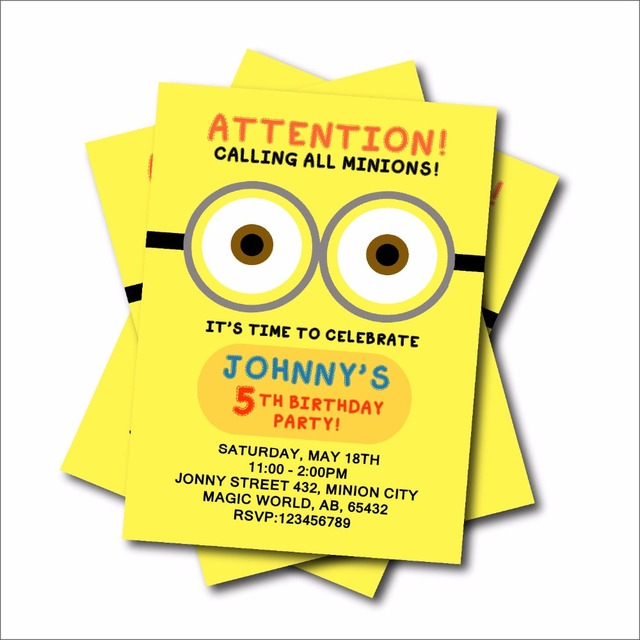 20pcs Customized Yellow Man Birthday Party Invitations For Kids Baby Shower  Invitation Birthday Party Decoration Supplier