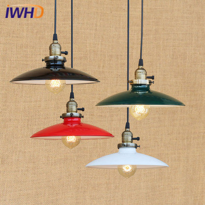 Vintage Industrial Loft Pendant Lights RH Retro Iron Pendant Lamp Colorful Hanglamp Fixtures Home Lighting Lamparas Colgantes iwhd loft style led pendant light industrial vintage pendant lamp iron retro droplight rh hanglamp fixtures for home lighting