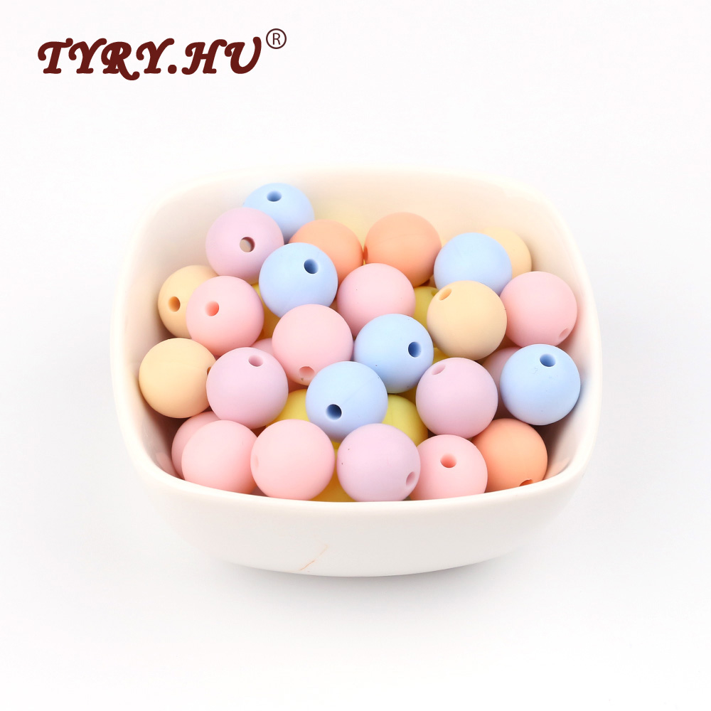 TYRY.HU 60Pcs 9/12/15/19mm Silicone Beads Baby Teething BPA Free Chewable Teethers Safe Toys For DIY Pacifier Chain Jewerly Set