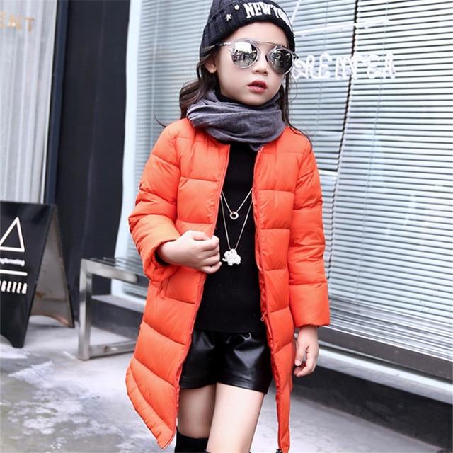 Solid Down Jacket for Girl Long Zipper Girls Winter Coat White Duck Down Doudoune File Children's Winter Jackets Girls dj001