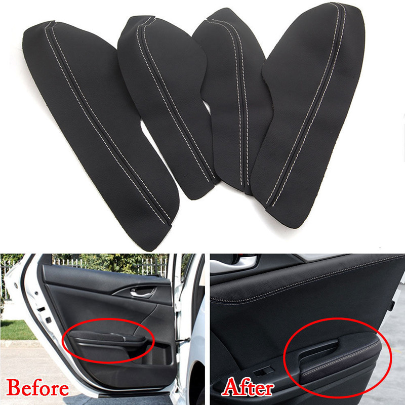 BBQ FUKA 8pcs Car Door Panel Armrest Leather Surface Shell Cover Trim Car Interior Accessories Fit