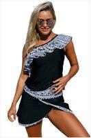 الشحن مجانا الصيف طباعة تنورة قصيرة واحدة الكتف بيكيني مجموعة 4F410201 منزعج المرأة مقلم ملابس طويلة