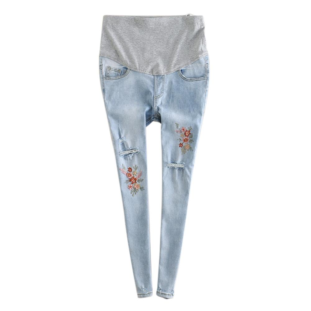 Pregnant Women Jeans Elastic Waist Holes Denim Flowers Embroidery Maternity Pants Casual Trouser NSV775