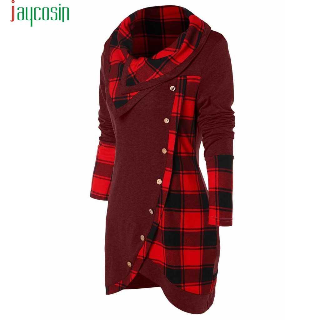 JAYCOSIN zimowy damski guzik do koszuli dziewczyna odzież damska z długim rękawem Plaid Turtleneck TartanTunic bluza damska pulowerowe topy