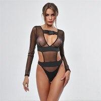 See Through One Piece Swimsuit High Cut Monokini Bodysuit Swimsuit Female Transparent Thong long sleeve bikini Women G String