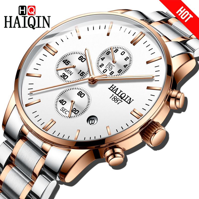 HAIQIN Gold Mens Watches Top Brand Luxury Quartz Sport Watch Men Waterproot Mens Wristwatch Relogio Masculino Reloj Hombre 2018