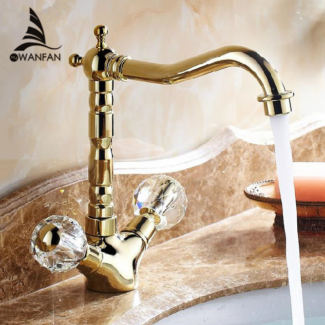 Basin Faucets Brass Gold Crystal Bathroom Sink Faucet 2 Handle Swivel Spout Deck Mounted Cold Hot Mixer Water Tap WC Cock 9256K golden brass kitchen faucet swivel spout vessel sink mixer tap hot and cold water deck mounted