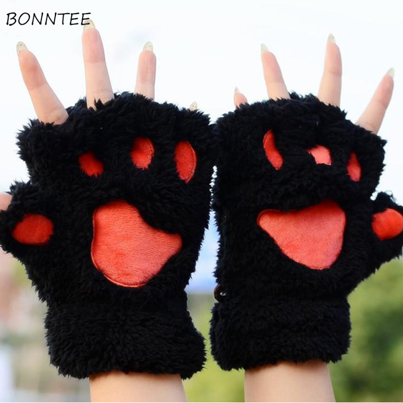 Gloves Women Harajuku Cat Claw Paw Thicker Cartoon Furry Half-finger Kawaii Harajuku Winter Warm Womens Glove Lovely Students