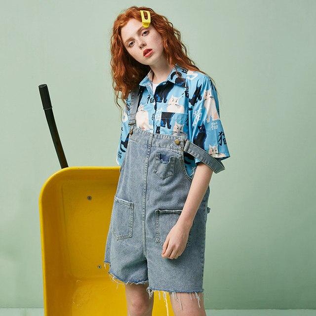 UNIFREE2019 verano nuevos Pantalones de mujer casual moda envejecimiento correa de mezclilla cintura alta pantalones cortos Mujer U192P014WW